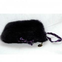 Pochette maquillage en fausse fourrure violette