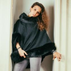 Poncho en drap de laine fausse fourrure noire