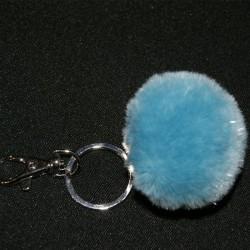 Porte-clés pompon en fausse fourrure bleu pailleté