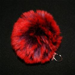 Porte-clés pompon en fausse fourrure rouge