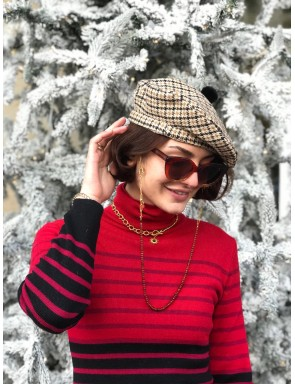 Simone check wool beret