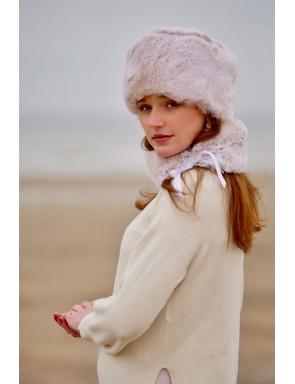 Pink faux fur hat