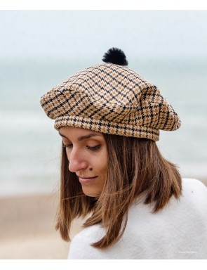 Simone check wool beret