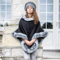 Poncho en drap de laine fausse fourrure grise