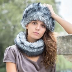 Tour de cou gris bleuté en fausse fourrure