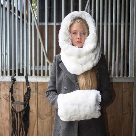 Manchon lapin blanc en fausse fourrure